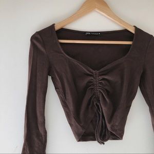 Zara Brown Ruched String Top